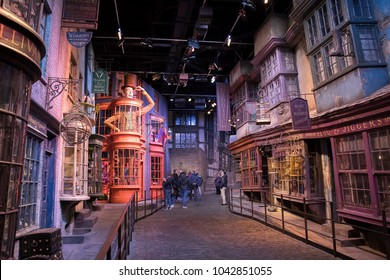 LEAVESDEN, UK - FEBRUARY 24TH 2018: Diagon Alley display at the Making of Harry Potter tour at Warner Bros studio in Leavesden, UK