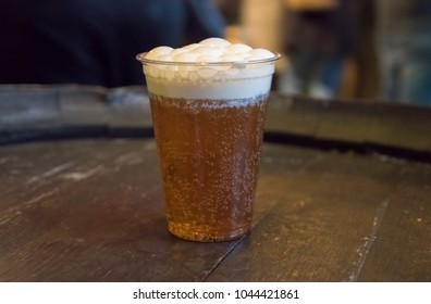 LEAVESDEN, UK - FEBRUARY 24TH 2018: Butterbeer drink at the Making of Harry Potter tour at Warner Bros studio in Leavesden, UK
