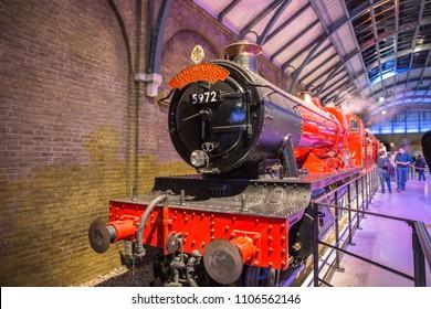 LEAVESDEN, UK - January 23rd 2017; Platform 9 3/4, Hogwards Express at the Making of Harry Potter Studio.