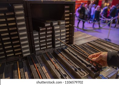 LEAVESDEN, UK - January 23rd 2017; Magic Wands of Harry Potter world at the Making of Harry Potter Studio.