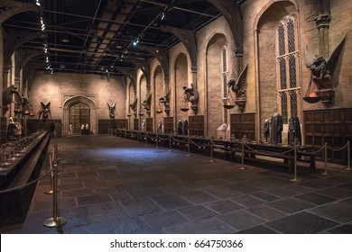LEAVESDEN, UK - JUNE 19TH 2017: The set of the Great Hall at Hogwarts, at the Making of Harry Potter studio tour at the Warner Bros studios in Leavesden, UK, on 19th June 2017.