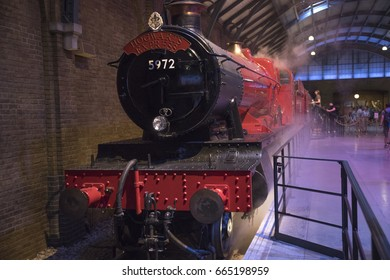 LEAVESDEN, UK - JUNE 19TH 2017: The Hogwarts Express train on the set of Platform 9 3/4 at the Making of Harry Potter Studio tour at the Warner Bros. Studios in Leavesden, UK, on 19th June 2017.