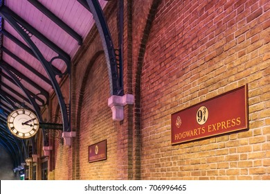 LEAVESDEN, UK - MARCH 24th 2017: The sign for Platform 9 3/4 at Warner Brothers studio and can be visited during Making of Harry Potter tour. The studio is near London in Leavesden, UK