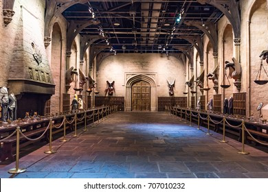 LEAVESDEN, UK - MARCH 24th 2017: Set of the Great Hall as Hogwarts. The Hall is located at Warner Brothers studio and can be visited during Making of Harry Potter tour, near London in Leavesden, UK