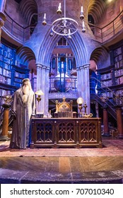 LEAVESDEN, UK - MARCH 24th 2017: set of Dumbledores office at Hogwarts. It is located at the Warner Brothers studio and can be visited during the Making of Harry Potter tour, Leavesden, UK