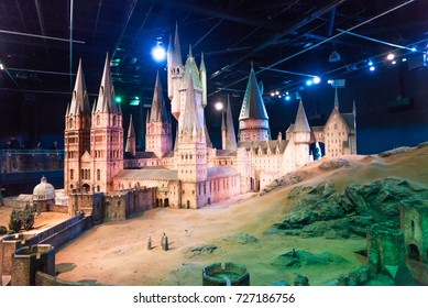 LEAVESDEN, UK - MARCH 24th 2017:  A scale model of Hogwarts, which is located at the Warner Brothers studio and can be visited during the Making of Harry Potter tour, Leavesden, UK
