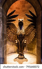 Leavesden, United Kingdom, NOVEMBER 11, 2017 - A phoenix statue at the entrance gate to Hogwarts Headmaster's office, The Making of Harry Potter, WB Studio