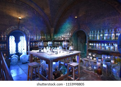 Leavesden/UK - May 18 2018: The set of the Potions classroom at the Making of Harry Potter tour at Warner Bros studio in Leavesden,