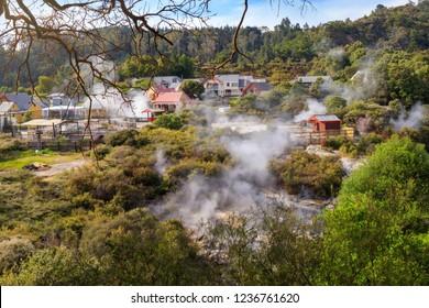 Leaving maori Thermal Village Whakarewarewa, Rotorua, New Zealand