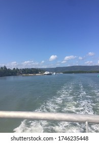Leaving Port Douglas marina by boat to get to the great barrier reef in Australia