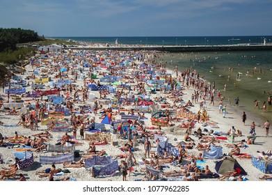 Leba, Poland - August 15, 2005: Aerial view of beach in Leba, famous Baltic Sea coastal summer town in Poland