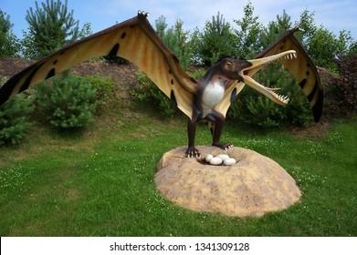 Leba, Poland - July 23, 2012: Model of dinosaur-pterodactyl in Jurassic park. Cearadactylus (frightfull finger). Wingspan 5,5 m, weight 15 kG.
