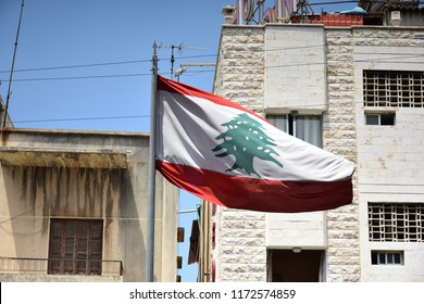 Lebanese Flag and Buildings, Jounieh, Lebanon