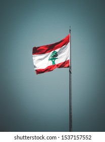 Lebanese flag flapping red white and green  - Shutterstock ID 1537157552