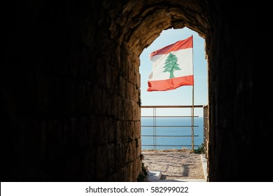 Lebanese flag seen at the Byblos fortress in Byblos, Lebanon.