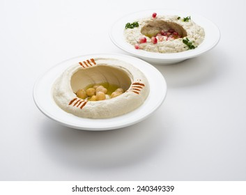 Lebanese food of Hommos & Mtabbal isolated on white background