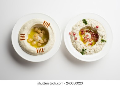 Lebanese food of Hommos & Mtabbal Isolated on White