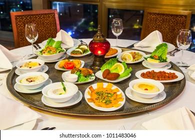 Lebanese Food Selection Table Meze