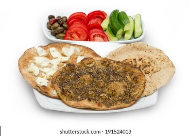 Lebanese food of Thyme and cheese manouche isolated on white