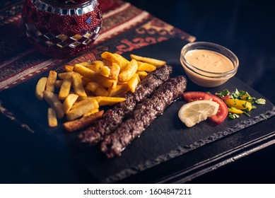 Lebanese kofta with fries in a sisha kebab bar