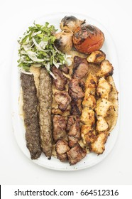 Lebanese Mixed Grill plate isolated on white