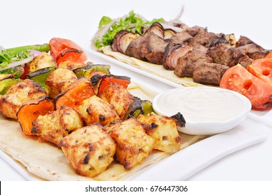 Lebanese Shish Taouk Chicken and Mutton Kabob Platter