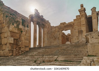 Lebanon, Baalbek - Entrance of the  Bacchus Temple in the ancient Phoenician city in baalbek in bekaa valley. Lebanon