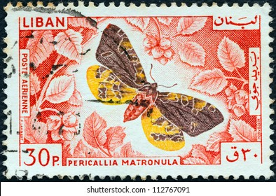 "LEBANON - CIRCA 1965: A stamp printed in Lebanon from the "" Butterflies"" issue shows a Large Tiger Moth (Pericallia matronula), circa 1965."