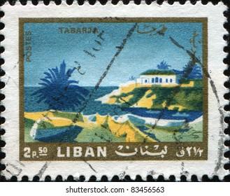 LEBANON - CIRCA 1966: A stamp printed in Lebanon shows Tabarja view, circa 1966