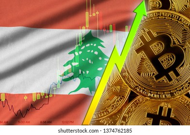 Lebanon flag and cryptocurrency growing trend with many golden bitcoins