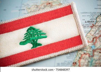Lebanon flag on map