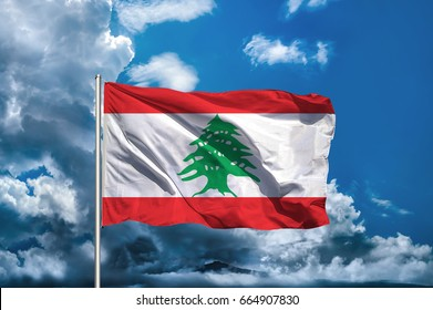 Lebanon flag with sky background