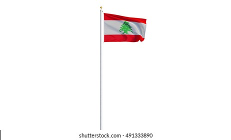 Lebanon flag waving on white background, long shot, isolated with clipping path mask alpha channel transparency