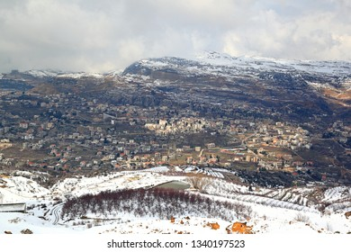 Lebanon landscape in winter with snow