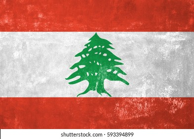 Lebanon - Lebanese Flag on Old Grunge Texture Background