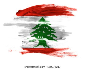 Lebanon. Lebanese flag  painted on white surface