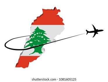 Lebanon map flag with plane silhouette and swoosh 3d illustration