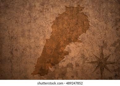 lebanon map on a old vintage crack paper background