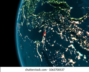 Lebanon from orbit of planet Earth at night with highly detailed surface textures. 3D illustration. Elements of this image furnished by NASA.