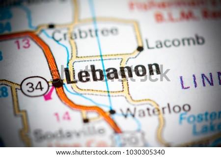 Lebanon Oregon Usa On Map Stock Photo Edit Now 1030305340