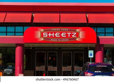 Lebanon, PA, USA - October 5, 2016: Entrance with distinctive logo of the Sheetz convenience stores.