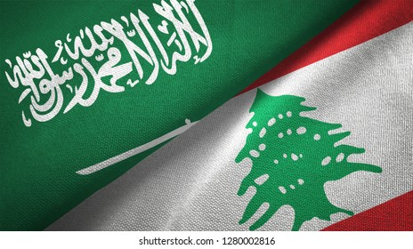 """Lebanon and Saudi Arabia two flags textile cloth fabric texture. Arabic text is part of saudi arabian flag. It means """"There is no god but God, Muhammad is the Messenger of God"""""""