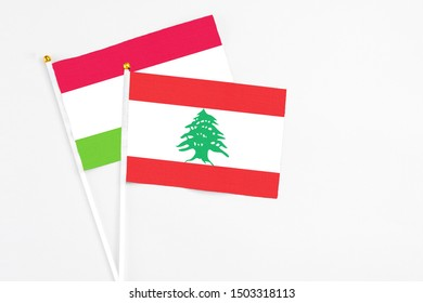 Lebanon and Tajikistan stick flags on white background. High quality fabric, miniature national flag. Peaceful global concept.White floor for copy space.