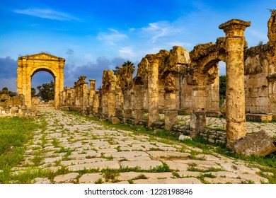 Lebanon. Tyre. The triumphal arch of Hadrian and a Roman road. The city was added to UNESCO's list of World Heritage Sites