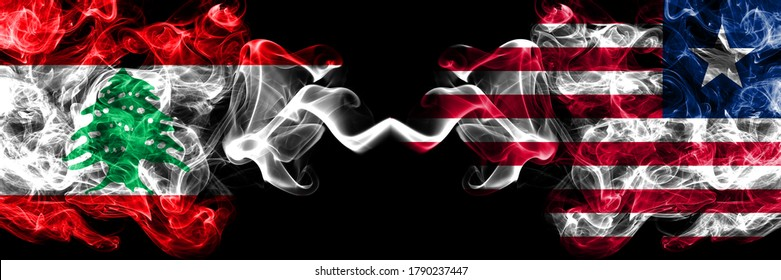 Lebanon vs Liberia, Liberian smoky mystic flags placed side by side. Thick colored silky abstract smoke flags.
