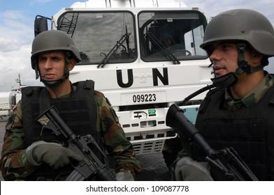 BE?RUT, LEBANON-OCTOBER 20: Unidentified Turkish UN vehicle on patrol on October 20, 2006 in Beirut, Lebanon