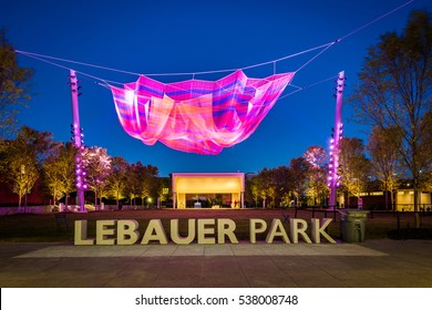 Lebauer Park at night, in downtown Greensboro, North Carolina.