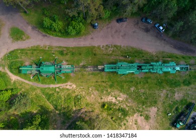 "LEBIAZHYE, RUSSIA - JUNE 06, 2019: Top view of the railway artillery guns on the old artillery fort ""Krasnaya Gorka"" on a sunny June day"