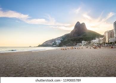 Leblon Beach and Two Brothers (Dois Irmaos) Mountain - Rio de Janeiro, Brazil