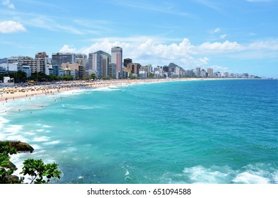 Leblon beach view from the gazebo in the city of Rio de Janeiro. Brazil